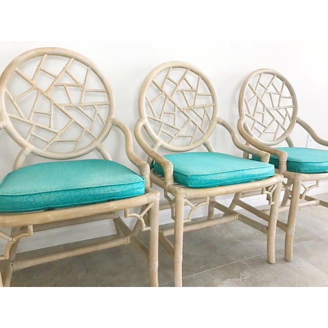 Hollywood Regency Vintage McGuire Cracked Ice Rattan Chairs - Set of 4 For Sale - Image 3 of 7