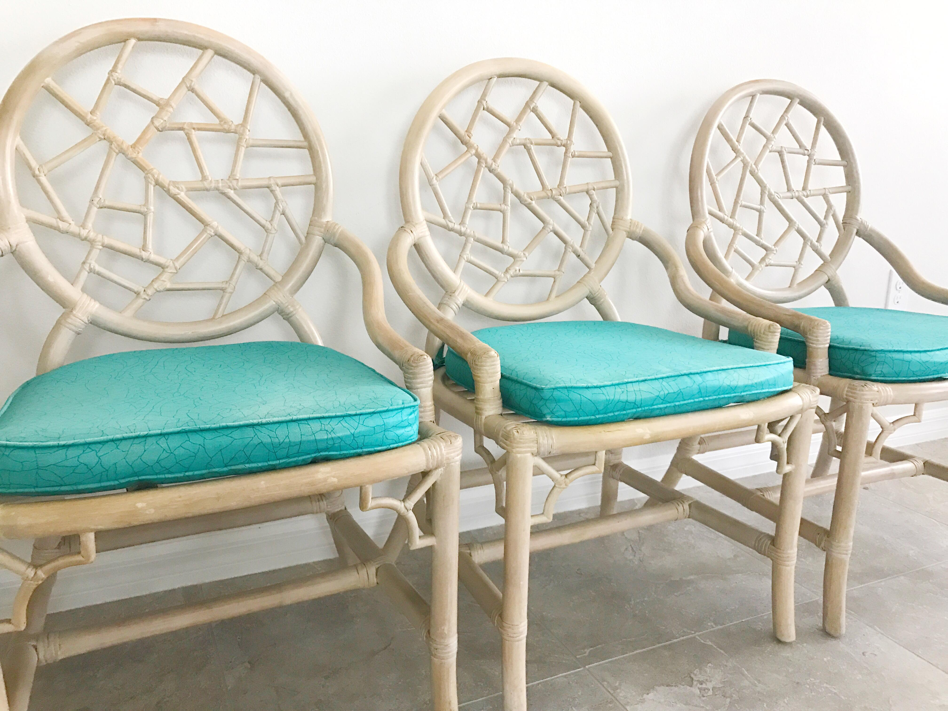 Marvelous Vintage McGuire Cracked Ice Rattan Chairs   Set Of 4   Image 3 Of 7