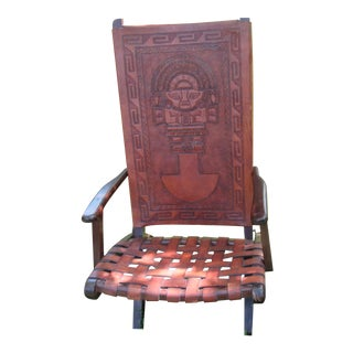 1970s Hand Tooled Aztec Designs Folding Armchair With Box Set - 2 Pc.