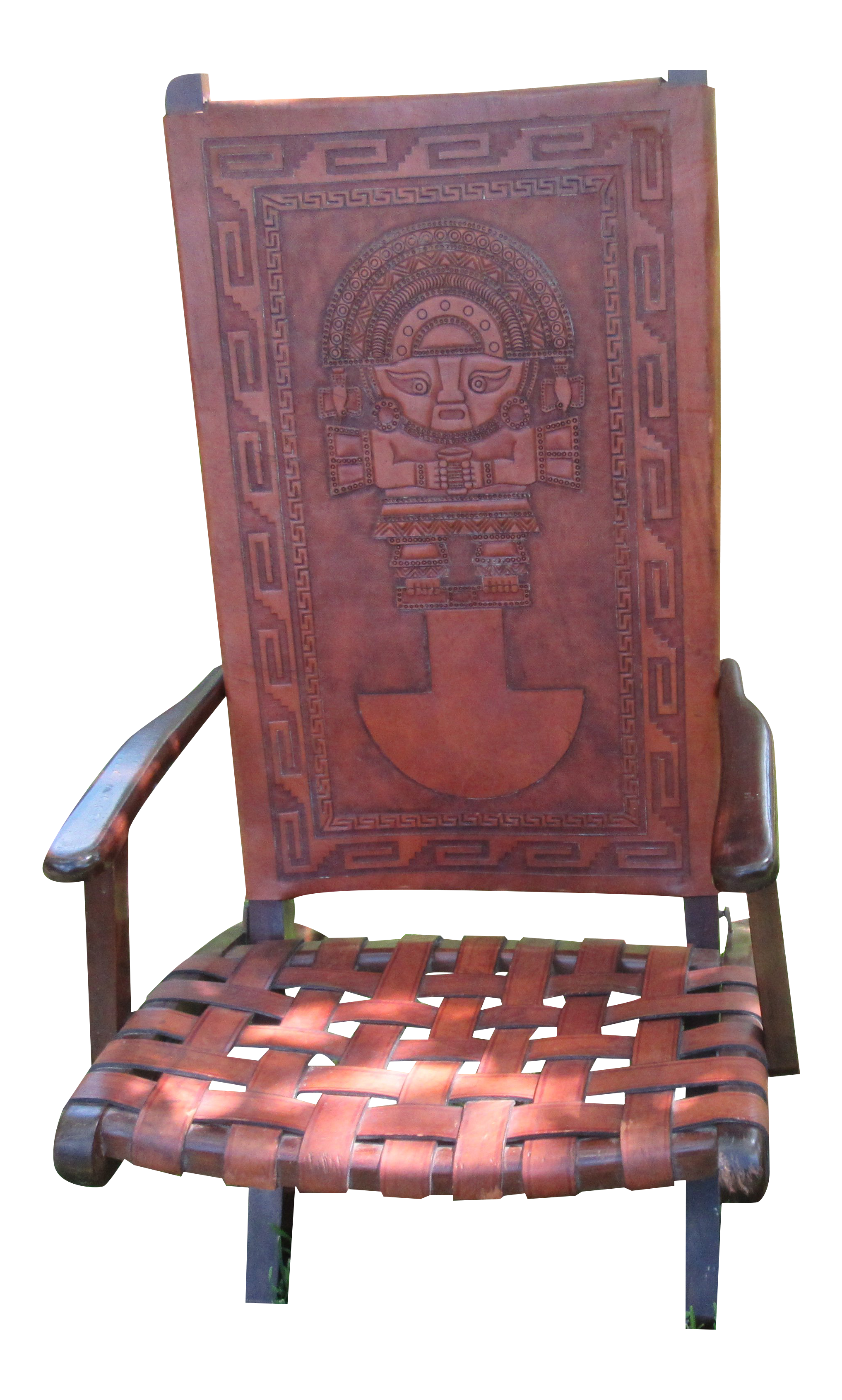 1970s Hand Tooled Aztec Designs Folding Armchair With Box Set   2 Pc.