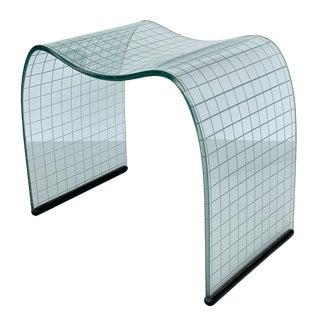 Vittorio Livi Onda Incisa Glass Stool for Fiam For Sale