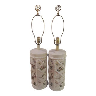 Vintage Faux Bamboo Porcelain Hand Painted Lamps - a Pair For Sale