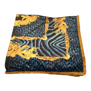 Gianni Versace Custom Made Mendoza Blue & Gold Velvet Throw For Sale