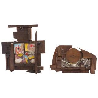 Lee Porzio & Allen Ditson Tile and Walnut Assemblages For Sale