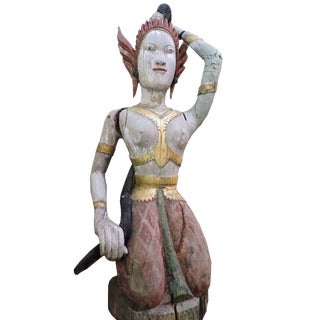 Carved Wooden Statue of Phra Mae Therani, the Thai Earth Mother Goddess Wringing the Cool Waters of Detachment Out of Her Hair For Sale