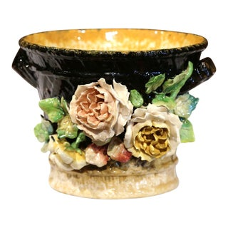 19th Century French Hand-Painted Barbotine Cache Pot with Flowers from Montigny