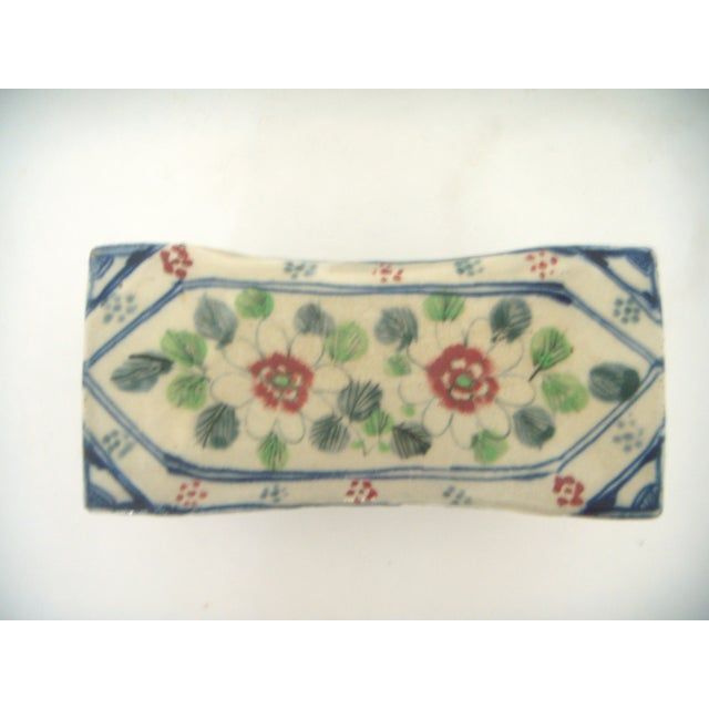 Early 20th Century Vintage Chinese Porcelain Head Rest/Opium Pillow, Blue and White For Sale - Image 5 of 7