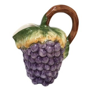 Vintage Majolica Grapes Pitcher Made in Portugal For Sale