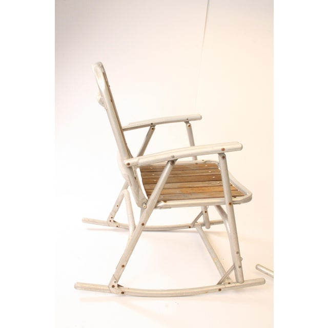 Aluminum Vintage Redwood & Aluminum Folding Rocking Chairs - A Pair For Sale - Image 7 of 11