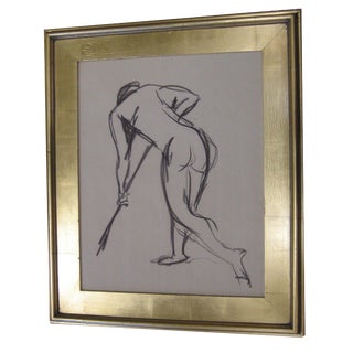 Vintage Charcoal Drawing of Sweeping Figure For Sale