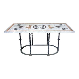 Italian Pietra Dura Marble Inlay Garden Dining Table For Sale