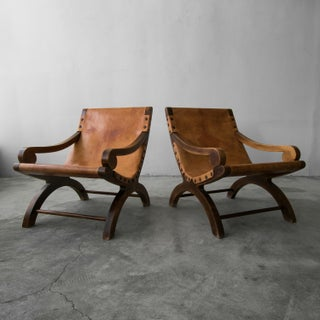 Pair of Vintage Butaque Leather Sling Lounge Chair Preview