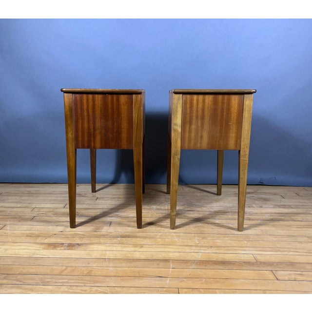 Pair 1950s Drop-Front Nightstands, Mahogany & Brass For Sale In New York - Image 6 of 9
