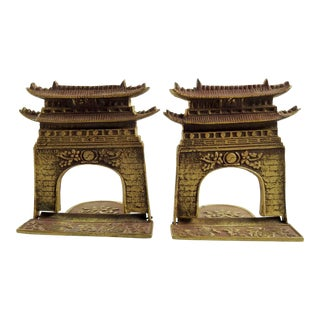 Brass Chinoiserie Pagoda Bookends - A Pair