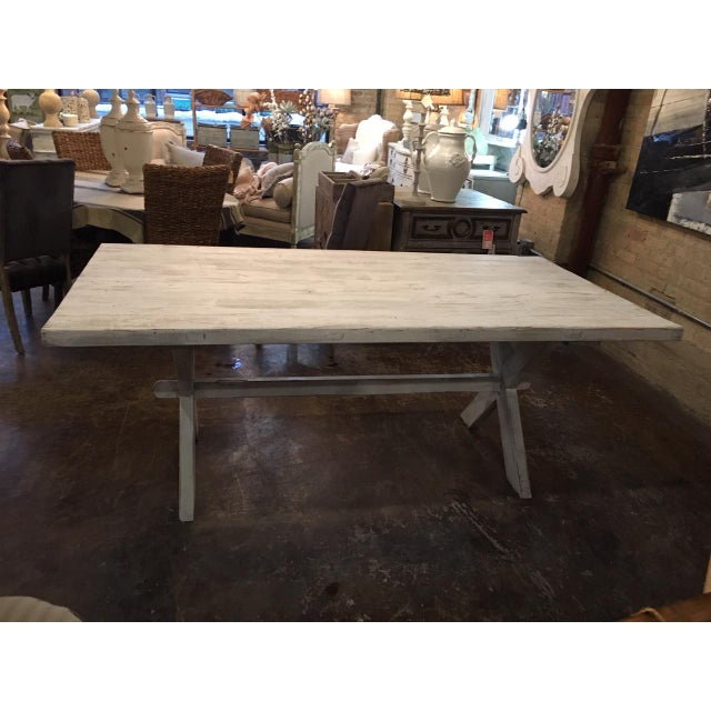 Farmhouse hand painted distressed dining table. Seats 6- 8.