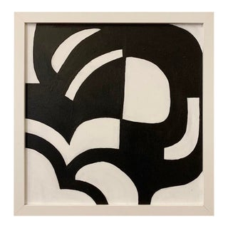 Original Geometric Black and White Framed Painting For Sale