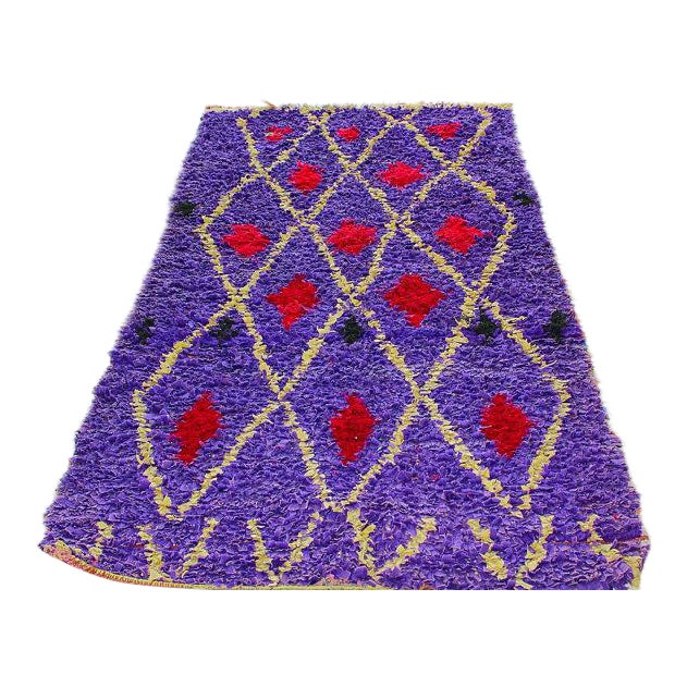 "Purple & Red Diamond Pattern Boucherouite Rug - 3'4"" X 6'5"" - Image 1 of 4"