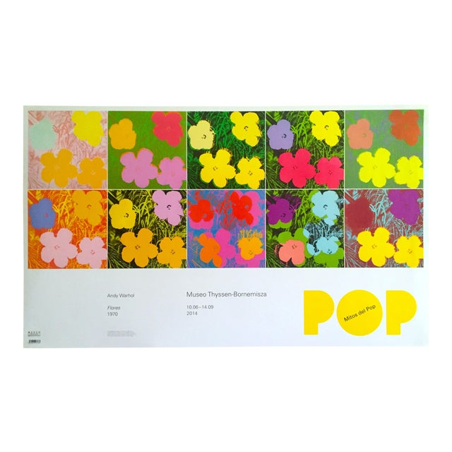 """Andy Warhol Foundation """" Myths of Pop """" Museo Thyssen Lithograph Print Pop Art Exhibition Poster """" Flowers """" 1970 For Sale"""