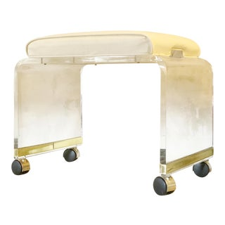 1970s Hill Manufacturing Lucite Vanity Stool by Charles Hollis Jones For Sale