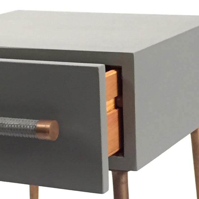 Mid 20th Century Danish Modern One-Drawer Bedside Table With Wicker and Brass Pull/Legs For Sale - Image 5 of 6