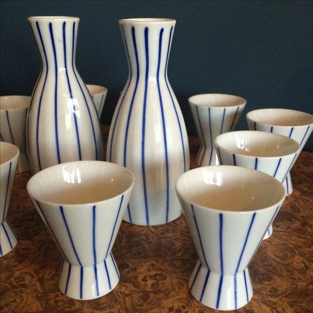 Blue & White Striped Sake Set - 12 Pieces - Image 4 of 5