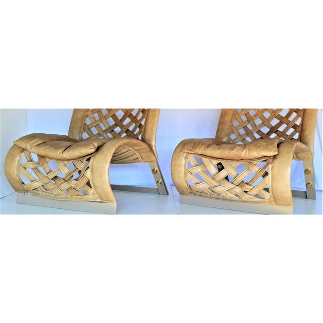 Rare Large Leather Lounge Club Chairs by Marzio Cecchi- a Pair - Italian Italy Mid Century Modern Palm Beach Boho Chic Designer For Sale - Image 9 of 12