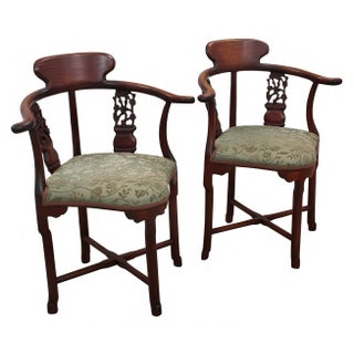 Early 20th Century Antique Solid Rosewood Chinoiserie Corner Chairs- a Pair Preview