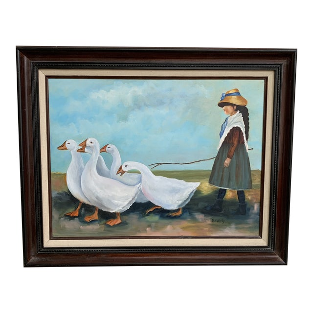 """Vintage """"Girl Herding Geese"""" Signed Oil on Canvas Framed Painting For Sale"""