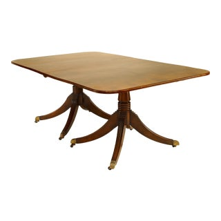 20th Century English Regency Twin Pedestal Mahogany Dining Table For Sale