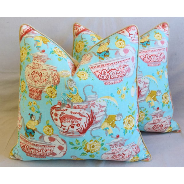 """Aqua Chinoiserie Playful Monkeys & Chinese Vases Feather/Down Pillows 26"""" Square - Pair For Sale - Image 13 of 13"""