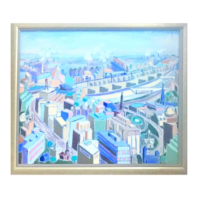 Vintage Mid-Century Modern Aerial Views Philadelphia Riverfront Neighborhoods Signed Framed Triptych Painting For Sale - Image 4 of 13