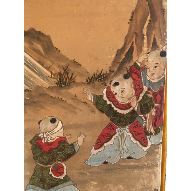 Paper Japanese Edo Period Six Panel Screen: Hotei and Boys, early 19th century For Sale - Image 7 of 8