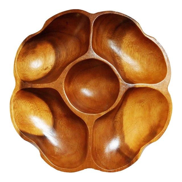 Vintage Monkey Pod Wood Party Platter - Image 1 of 3