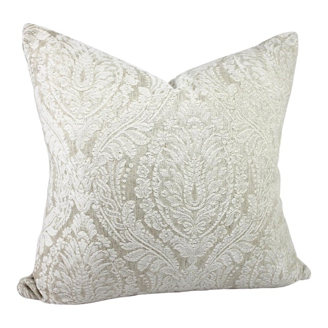 Creamy White Damask Throw Pillow For Sale