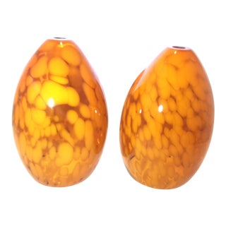 Vintage Tortoise Art Glass Lamp Shades for Pendant Lighting - A Pair