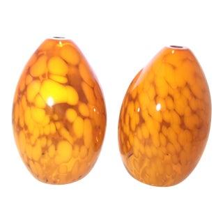 Vintage Tortoise Art Glass Lamp Shades for Pendant Lighting - A Pair For Sale