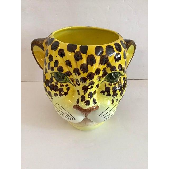 Super rare ceramic leopard cache pot. Add some exotic to your decor.