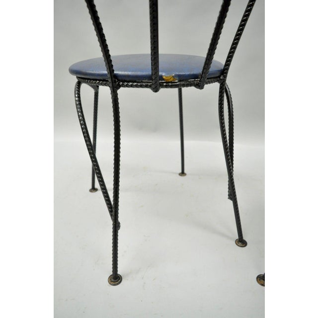 4 Vintage Mid Century Modern Brutalist Iron Rebar Dining Chairs Industrial Steampunk For Sale - Image 9 of 11