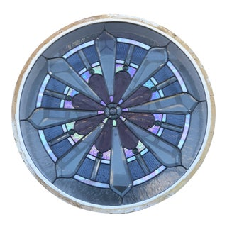 Stained Leaded Glass Porthole Window With Iridescent Glass For Sale