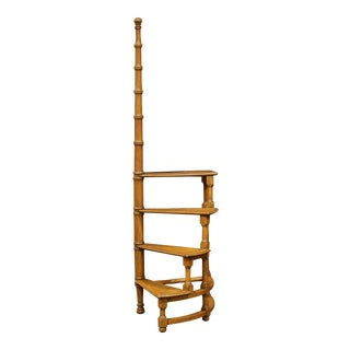 Mid-20th Century English Carved Four-Stairs Library Spiral Step Ladder For Sale