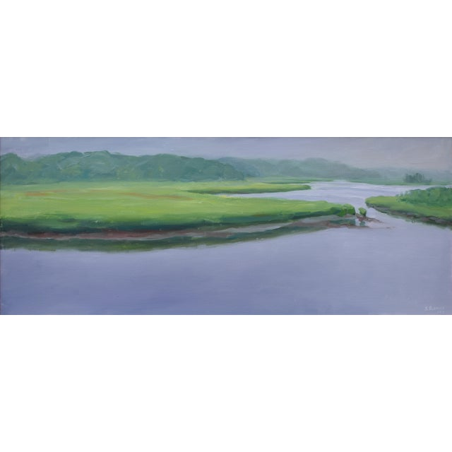 """Contemporary Contemporary Plein Air Painting """"Adamsville Landing"""" by Stephen Remick For Sale - Image 3 of 13"""