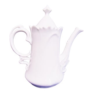 Floral White Porcelain Teapot For Sale