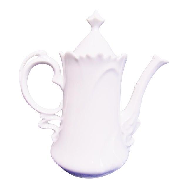 Floral White Porcelain Teapot For Sale