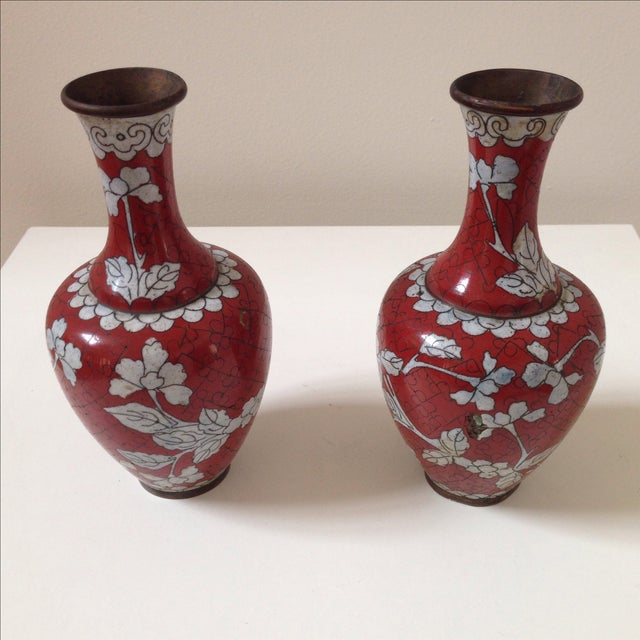 Red Cloisonne Vases - Pair - Image 3 of 11