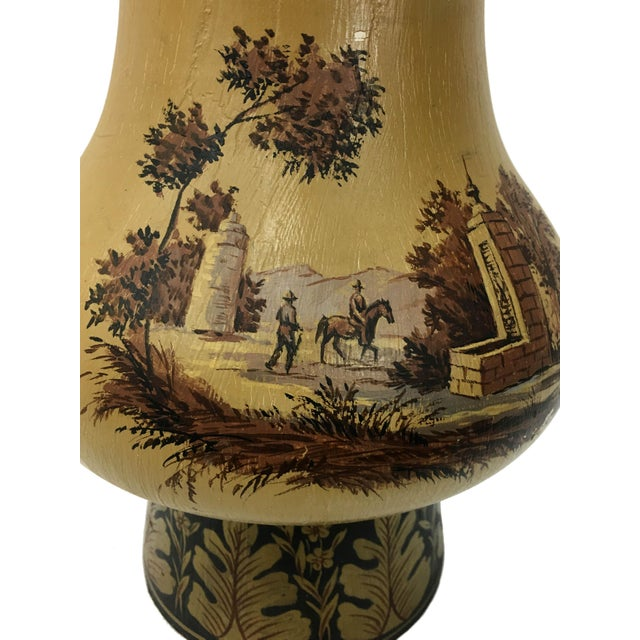 English Traditional Yellow Orca Wooden Urn Lamp For Sale - Image 3 of 7
