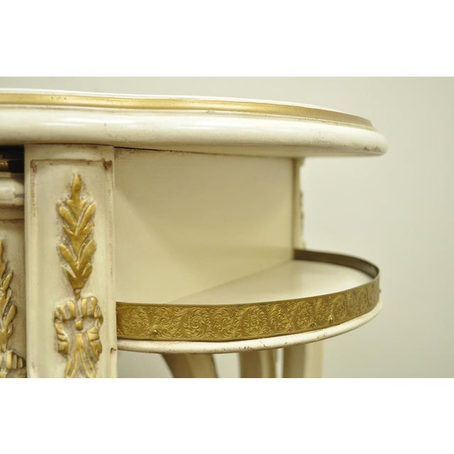 3 Vintage French Louis XV Carved Satinwood Inlaid Nest of Nesting Side Tables For Sale - Image 10 of 11