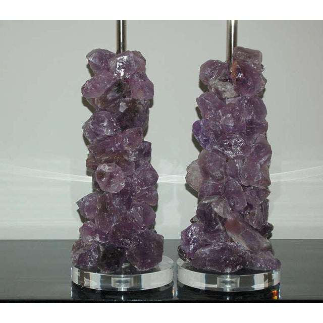 Gorgeous Rock Candy cluster table lamps in LAVENDER made of Brazilian Quartz Crystal - so elegant. Eco-friendly art pieces...