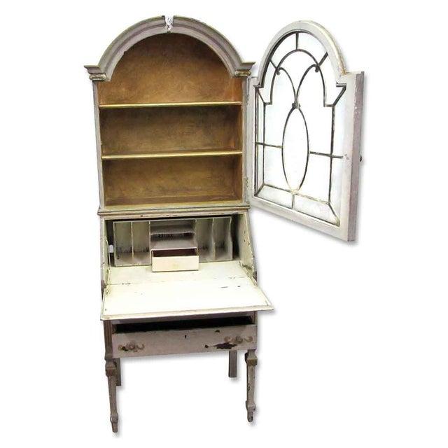 Glass Antique Secretary Desk & Cabinet Duo For Sale - Image 7 of 10