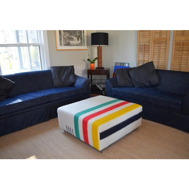 1960s Ottoman Coffee Table Upholstered in Hudson Bay Blanket on Barn Board Frame, Square For Sale - Image 5 of 11
