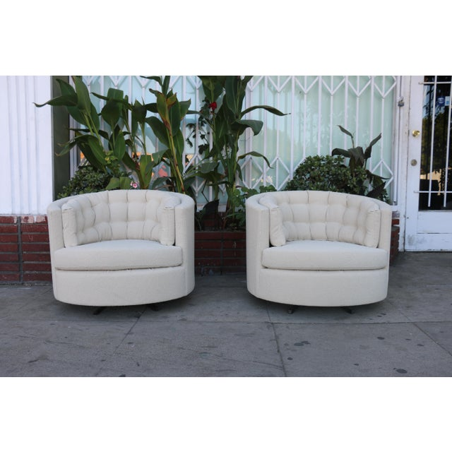 Milo Baughman Style Swivel Chairs - A Pair For Sale - Image 10 of 10